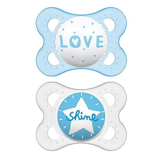 Alternate image 1 for MAM Attitude 0-6 Months Orthodontic Pacifier (Set of 2) in Blue/Clear