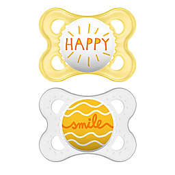 MAM Attitude 0-6 Months Orthodontic Pacifiers in Grey/Yellow (Set of 2)