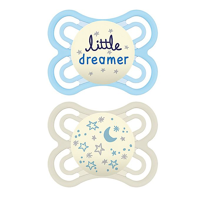 Alternate image 1 for MAM Glow in the Dark Perfect Night Collection 0-6M 2-Pack Pacifiers