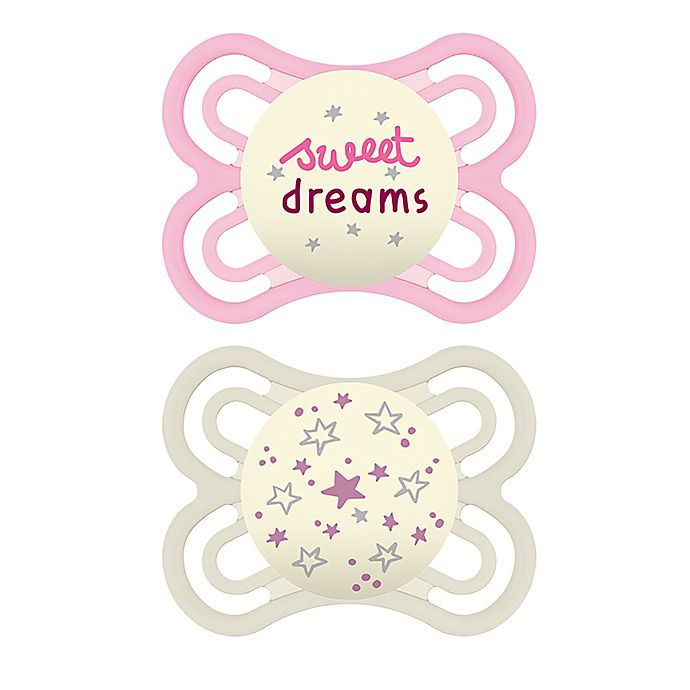 Alternate image 1 for MAM Glow in the Dark Perfect Night Collection 0-6M 2-Pack Pacifiers in Pink/Purple