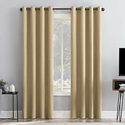 Sun Zero Channing Grid 96-Inch Grommet 100% Blackout Curtain Panel in Soft Gold
