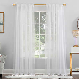 No. 918 Mallory Sheer Voile 108-Inch Rod Pocket Window Curtain Panel in White