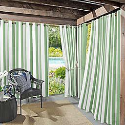 Sun Zero Valencia Cabana Stripe Indoor/Outdoor 95-Inch Grommet Window Curtain Panel in Spa Green