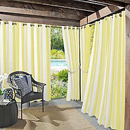 Sun Zero Valencia Cabana Stripe Indoor/Outdoor 108-Inch Grommet Window Curtain Panel in Yellow