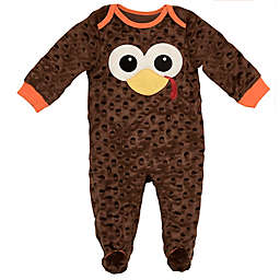 Baby Starters® Velour Turkey Thanksgiving Footie in Brown