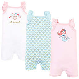 Hudson Baby® Size 3-6M 3-Pack Mermaid Sleeveless Rompers in Mint