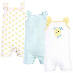 Hudson Baby® Size 9-12M 3-Pack Lemon Sleeveless Rompers in Mint