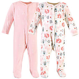 Hudson Baby® 2-Pack Forest Sleep and Play Footies in Pink