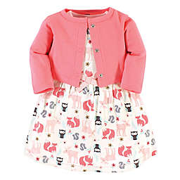 Hudson Baby® 2-Piece Forest Dress and Cardigan Set in Pink