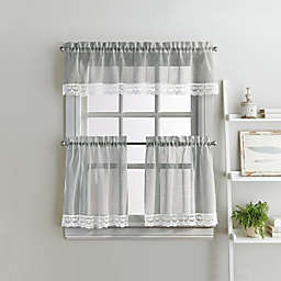 Delicate Lace 3-Piece 36-Inch Kitchen Window Curtain Tier Pair and Valance Set in Grey