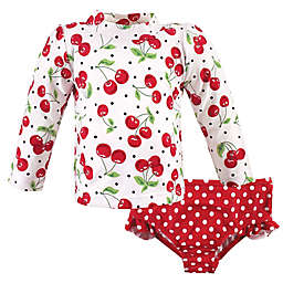 Hudson Baby® 2-Piece Cherries Rashguard and Swim Trunk Set in Red
