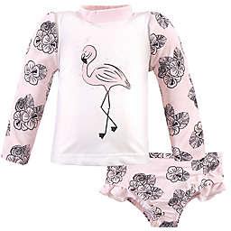 Hudson Baby® 2-Piece Flamingo Rashguard Swim Set in Pink