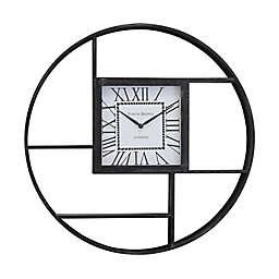 Circular 26.8-Inch Shelf Wall Clock in Distressed Black