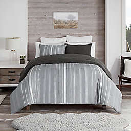 UGG® Devon Faux Sherpa 2-Piece Reversible Twin/Twin XL Comforter Set in Charcoal Stripe