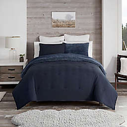 UGG® Devon Faux Sherpa 3-Piece Reversible King Comforter Set in Navy Melange