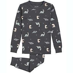 Petit Lem 2-Piece Dino Organic Cotton Pajama Top and Bottom Set in Charcoal