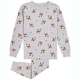 Petit Lem 2-Piece Dog Organic Cotton Pajama Top and Bottom Set in Grey