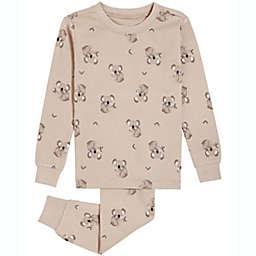 Petit Lem 2-Piece Koala Organic Cotton Pajama Top and Bottom Set in Taupe
