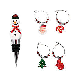 Willow Street Deisgns by dei 5-Piece Snowman Bottle Stopper and Wine Charms Set