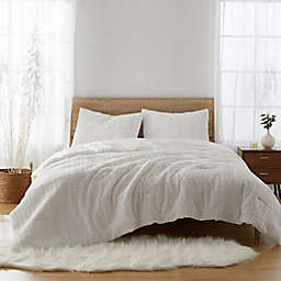 Textured Faux Fur 2-Piece Twin Comforter Set in White