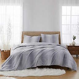 Striped Faux Fur 2-Piece Twin Comforter Set in Grey