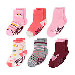 Capelli New York 6-Pack Girly Dinos Socks in Pink/Multi