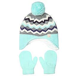 Nolan Originals Toddler Fairisle Hat and Mittens Set in Aqua