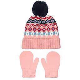 Nolan Originals Size 2T-4T Fair Isle Pom Hat and Mitten Set in Pink/Purple