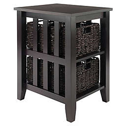 Winsome Trading Morris End Table with Baskets in Dark Espresso