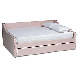 Baxton Studio Arnold Queen Daybed with Trundle in Pink
