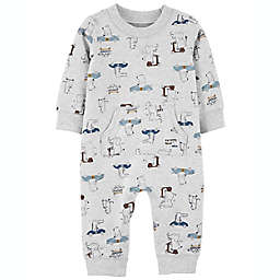 carter's® Size 12M Animal Transport French Terry Jumpsuit in Grey
