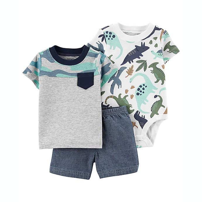 Alternate image 1 for carter's® Size 18M 3-Piece Dino Little Short, T-Shirt and Bodysuit Set in Grey