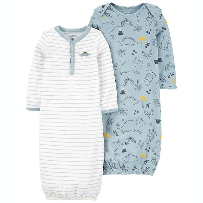 Alternate image 1 for carter's® 2-Pack Dino/Striped Sleeper Gowns