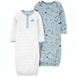 carter's® Preemie 2-Pack Dino/Striped Sleeper Gowns