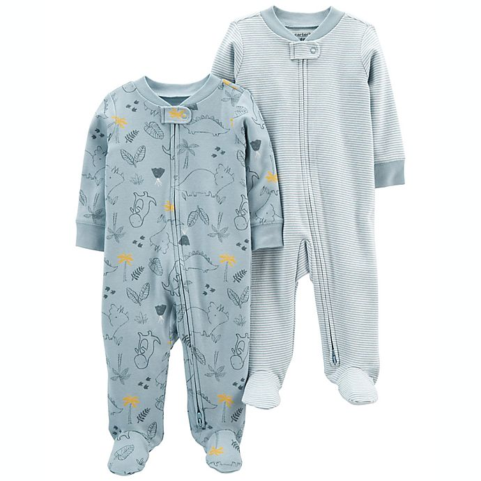 Alternate image 1 for carter's® 2-Pack Dino/Stripe Cotton Zip-Up Sleep & Plays in Blue