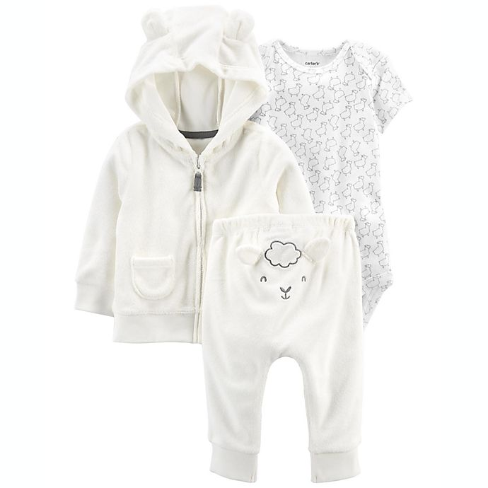 Alternate image 1 for carter's® 3-Piece Sheep Little Cardigan Set in Ivory