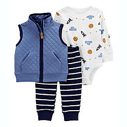 carter's® 3-Piece Space Vest, Bodysuit, and Pant Set in Blue