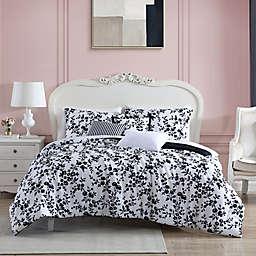 Betsy Johnson® Pretty Floral Black King Comforter Bonus Set in Black
