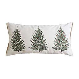 Levtex Home Folk Deer Christmas Trees Rectangular Throw Pillow in White