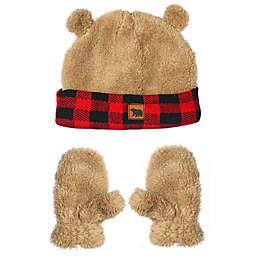 Nolan Originals Toddler Fuzzy Bear Buffalo Check Hat and Mitten Set in Tan