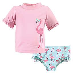 Hudson Baby® 2-Piece Beach Babe Rashguard and Swim Trunk Set in Pink