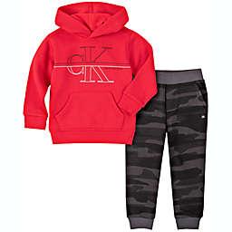 Calvin Klein® 2-Piece Logo Hooded Jogger Set in Red/Black
