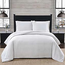 London Fog® Herringbone Flannel 2-Piece Twin Comforter Set in White and Grey