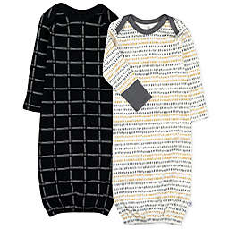 The Honest Company® Size 0-6M 2-Pack Pencil Dash Organic Cotton Sleeper Gowns in Charcoal Grey