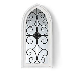Baxton Studio Shelby 18.9-Inch x 39-Inch Arched Wall Mirror in White/Black