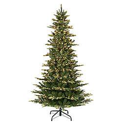 Puleo International 7.5-Foot Slim Aspen Fir Pre-Lit Artificial Christmas Tree in Green