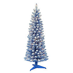Puleo International 4.5-Foot Lit Flocked Pencil Christmas Tree in Blue with Clear Lights