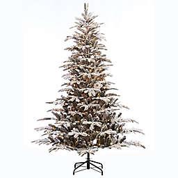 Puleo International® 6.5-Foot Flocked Aspen Fir Pre-Lit Artificial Christmas Tree in Green
