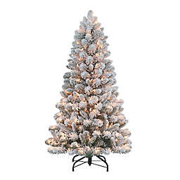 Puleo International 4.5-Foot Flocked Virginia Pine Artificial Christmas Tree in Green