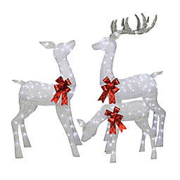 Puleo International 3-Piece LED Deer Family Outdoor Christmas Decoration Set in Silver